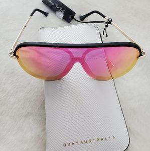 Quay Australia Empire Aviator sunglasses+case New